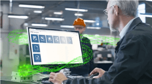 an employee using ThingWorx Navigate software