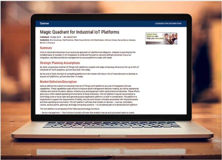 Gartner Magic Quadrant for Industrial IoT Platforms